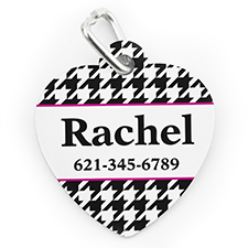 Custom Printed Hounds Tooth, Heart Shaped Dog Or Cat Tag