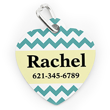 Custom Printed Aqua Chevron, Heart Shaped Dog Or Cat Tag