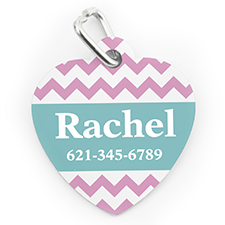 Custom Printed Pink Chevron, Heart Shaped Dog Or Cat Tag