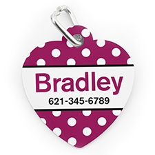 Custom Printed Fuchsia Dots, Heart Shaped Dog Or Cat Tag