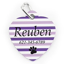 Custom Printed Lavender Stripe Paw, Heart Shaped Dog Or Cat Tag