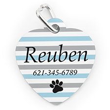 Custom Printed Aqua Stripe Paw, Heart Shaped Dog Or Cat Tag