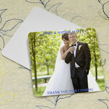 Wedding Photo, Square Personalised Coasters