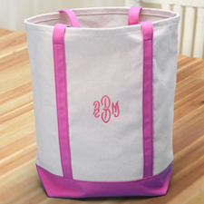 Personalised Embroidered Tote Medium Bag, Hot Pink