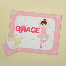 Dance Girl Brown Hair Personalised Kids Puzzle