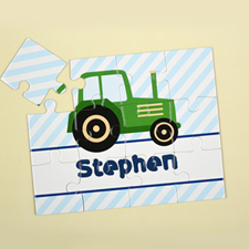 Green Truck Personalised Kids Puzzle