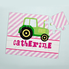 Lime Truck Personalised Kids Puzzle