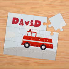 Fire Engine Personalised Kids Puzzle