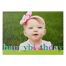 Create Your Own Glitter Happy Birthday Personalised Photo Cards, Green Announcement Cards