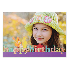 Create Your Own Glitter Happy Birthday Personalised Photo Cards, Purple Announcement Cards