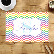 Personalised Rainbow Chevron Placemats