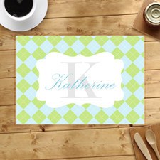 Personalised Green Aqua Square Placemats