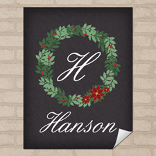 Chalkboard Christmas Wreath Personalised Poster Print Small 8.5