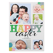 Glitter Easter Bubble Personalised Photo Card