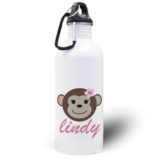 Personalised Photo Monkey Girl Water Bottle