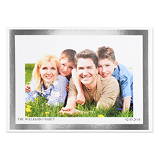 Create Your Own Silver Foil Frame Personalised Photo Card, 5