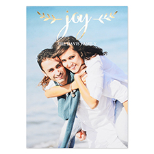 Create Your Own Script Joy Personalised Photo Foil Card Gold