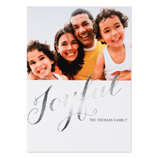 Create Your Own Joyful Personalised Photo Foil Card Silver