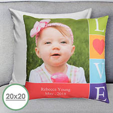 Colourful Love Personalised Large Pillow Cushion Cover 20