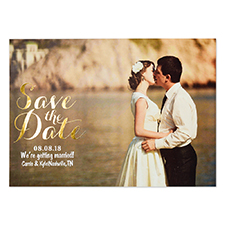 Create Your Own Real Foil Gold Treasured Date Personalised Photo Save The Date, 5