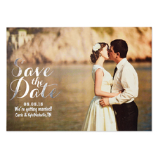 Create Your Own Real Foil Silver Treasured Date Personalised Photo Save The Date, 5