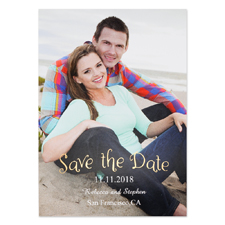 Create Your Own Foil Natural Shine Personalised Photo Save The Date Card