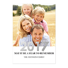 Create Your Own Foil Silver Personalised Photo New Year Card Card Invites