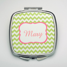 Personalised Lime Chevron Compact Make Up Mirror