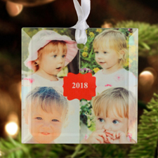 2017 Personalised Photo Glass Ornament Square 3