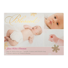 Create Your Own Blessed Gold Foil Personalised Photo Girl Birth Announcement, 5