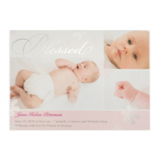 Create Your Own Blessed Silver Foil Personalised Photo Girl Birth Announcement, 5