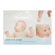 Create Your Own Blessed Silver Foil Personalised Photo Boy Birth Announcement, 5