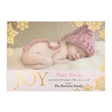 Create Your Own Joy Foil Gold Personalised Photo Girl Birth Announcement, 5