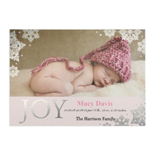Create Your Own Joy Foil Silver Personalised Photo Girl Birth Announcement, 5