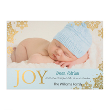 Create Your Own Joy Foil Gold Personalised Photo Boy Birth Announcement, 5