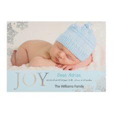 Create Your Own Joy Foil Silver Personalised Photo Boy Birth Announcement, 5