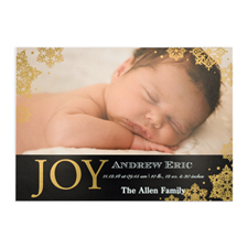 Create Your Own Joy Foil Gold Personalised Photo Birth Announcement, 5