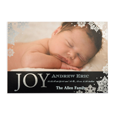 Create Your Own Joy Foil Silver Personalised Photo Birth Announcement, 5