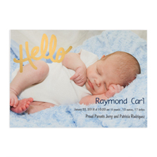 Create Your Own Hello Foil Gold Personalised Photo Birth Announcement, 5