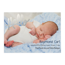 Create Your Own Hello Foil Silver Personalised Photo Birth Announcement, 5
