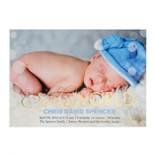 Create Your Own Hello World Foil Gold Personalised Photo Birth Announcement, 5