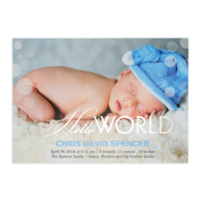 Create Your Own Hello World Foil Silver Personalised Photo Birth Announcement, 5