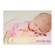 Create Your Own Say Hello Foil Gold Personalised Photo Birth Announcement, 5
