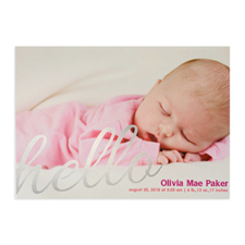 Create Your Own Say Hello Foil Silver Personalised Photo Birth Announcement, 5