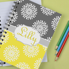 Personalised Lemon Grey Floral Notebook