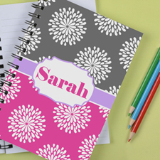 Personalised Pink Grey Floral Notebook