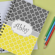 Personalised Lemon Grey Clover Notebook