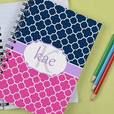 Personalised Pink Navy Clover Notebook