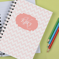 Personalised Pastel Pink Chevron Notebook