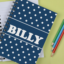 Personalised Navy Dots Notebook